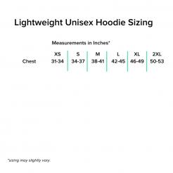 Lightweight Unisex Hoodie Sizing