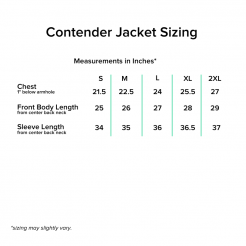 Contender Jacket Sizing